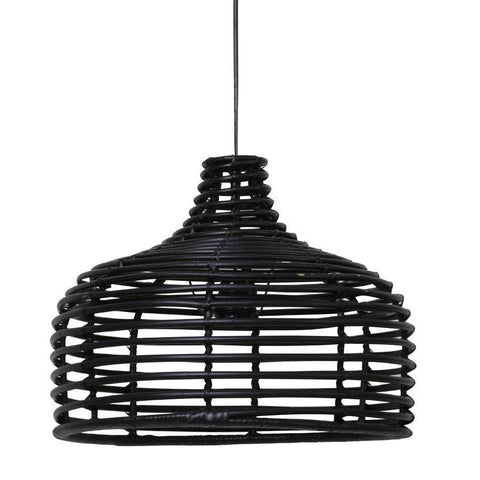 Rattan Dome Pendant - Black - The Farthing