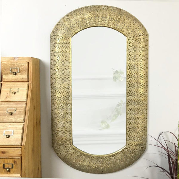 Rectangle Gold Filigree Metal Wall Mirror at the Farthing