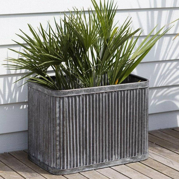 Extra Large Fluted Vence Box Planters on zinc planter boackround on white, zinc garden statues, zinc bowls, zinc furniture, zinc window boxes,