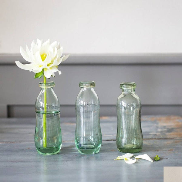 Elegant Recycled Glass Bottles - Set of 3 - The Farthing