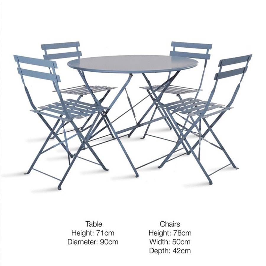 Rive droite bistro set of table 4 chairs in dorset blue for Table and 4 chairs set
