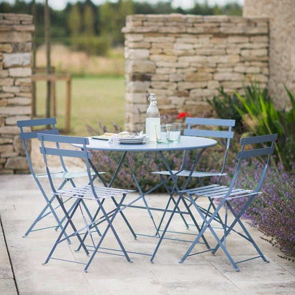 Rive Droite Bistro Set Of Table 4 Chairs In Dorset Blue