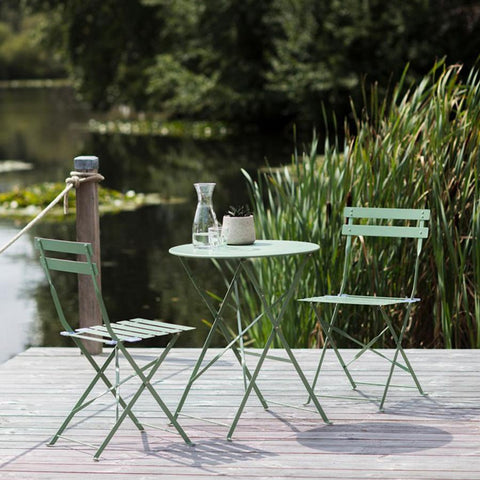 Metal Bistro Set of Table & Two Chairs in Greengage at the Farthing