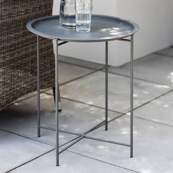 Round Metal Tray Table   Charcoal   The Farthing