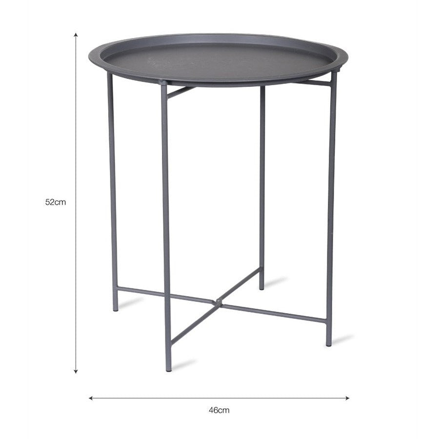 ... Round Metal Tray Table   Charcoal   The Farthing