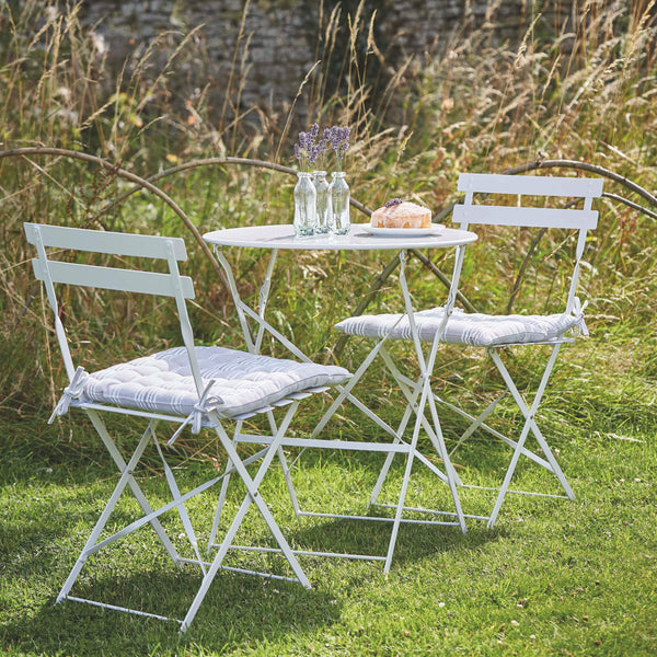 Metal Bistro Set of Table & Two Chairs - Chalk