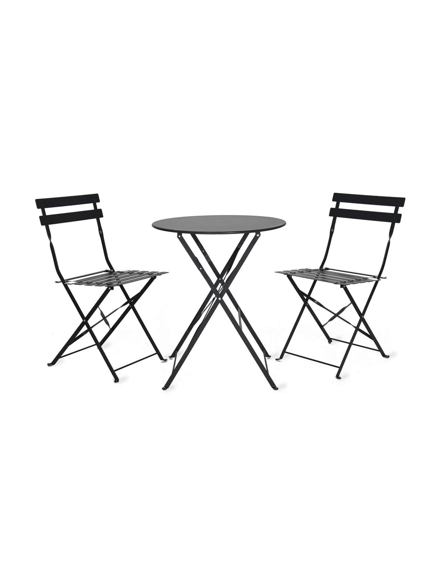 Metal Bistro Set of Table & Two Chairs - Carbon