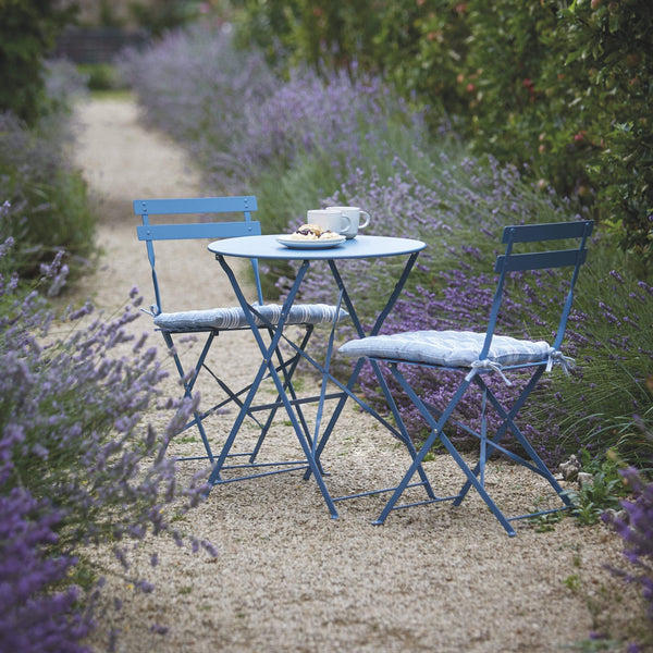 Metal Bistro Set of Table & Two Chairs in Dorset Blue