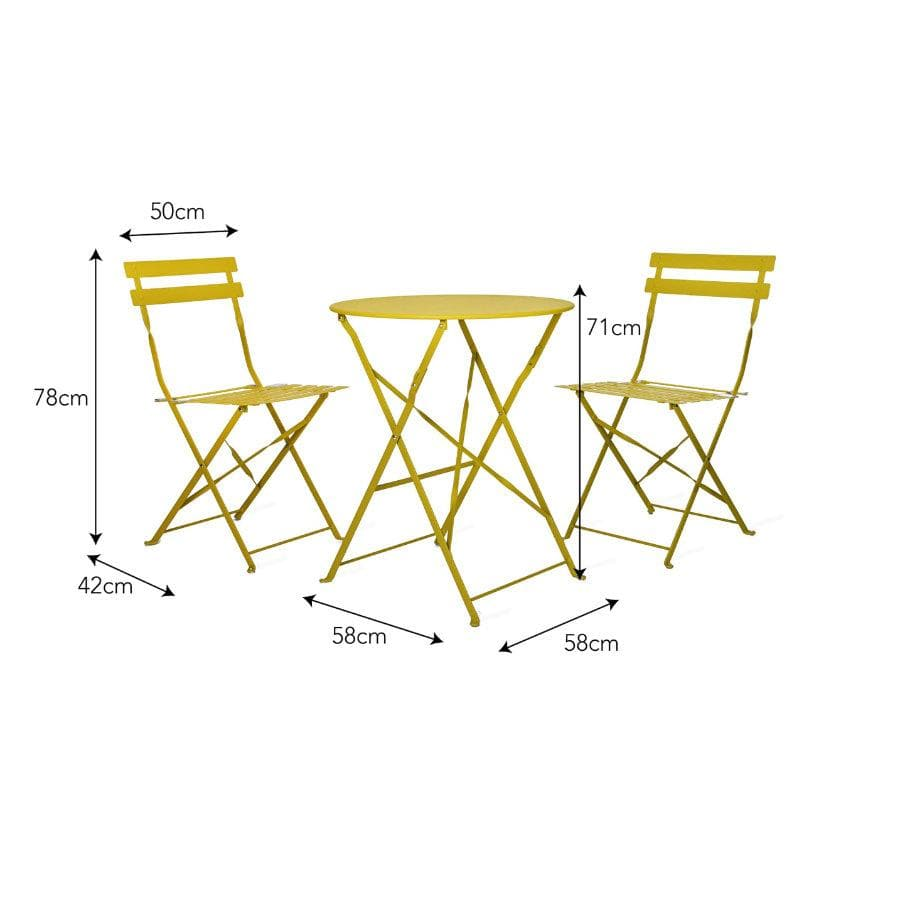 Rive Droite Metal Bistro Set with two chairs - Dandelion | The Farthing