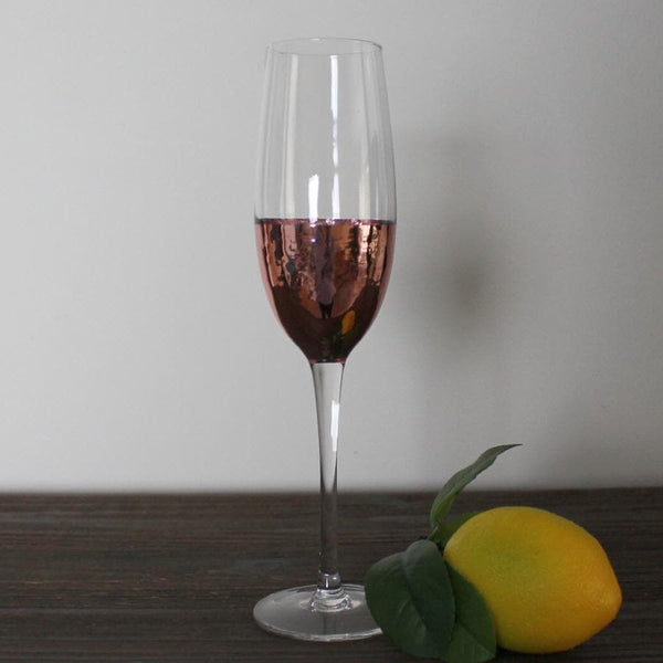 Rose Gold Base Champagne Flute - set of 2 at the Farthing
