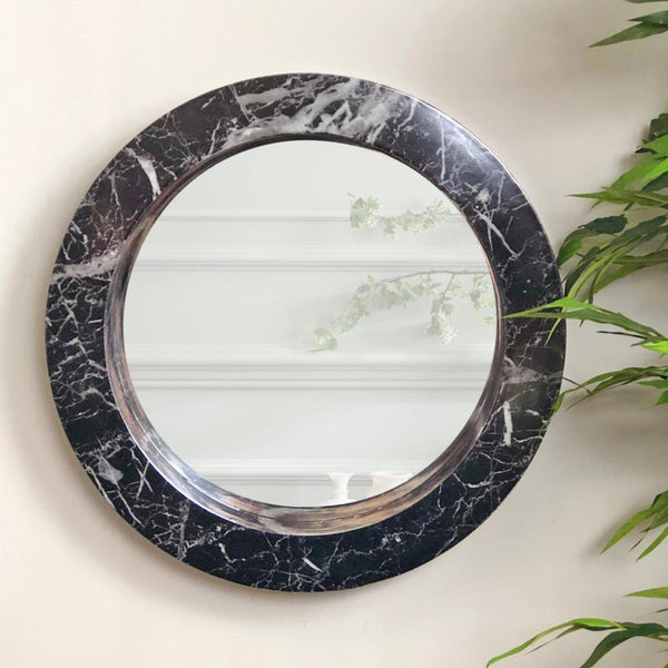 Round Black Faux Marble Wall Mirror | Farthing