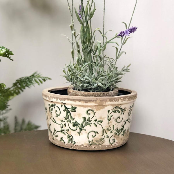 Round Ceramic Aged Floral Plant Pot at the Farthing