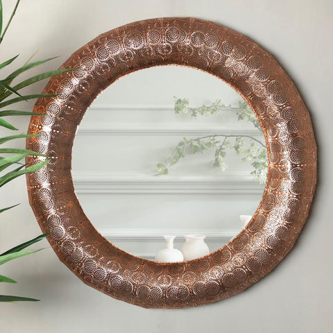 Round Copper Filigree Wall Mirror at the Farthing 1