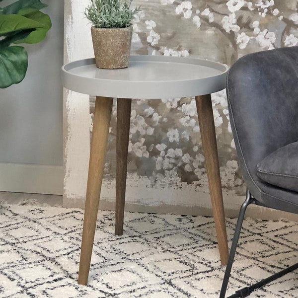Round Lipped Side Table - Period Grey | Farthing 1