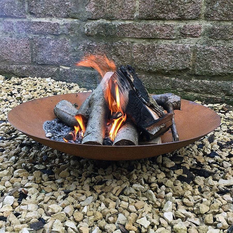 Round Low Rusty Firepit Brazier at the Farthing