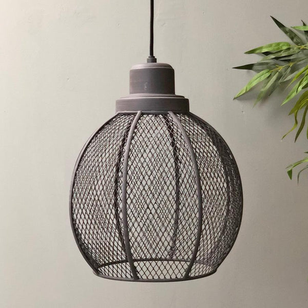 Round Lwesdon Wire Cage Pendant Light at the Farthing