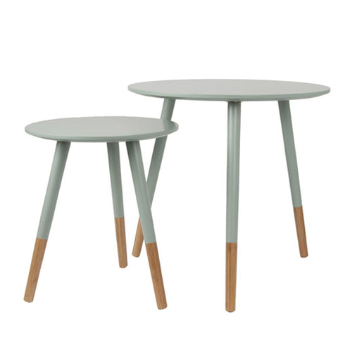 Round Netherbury Side Table Set - Pigeon Green | Farthing