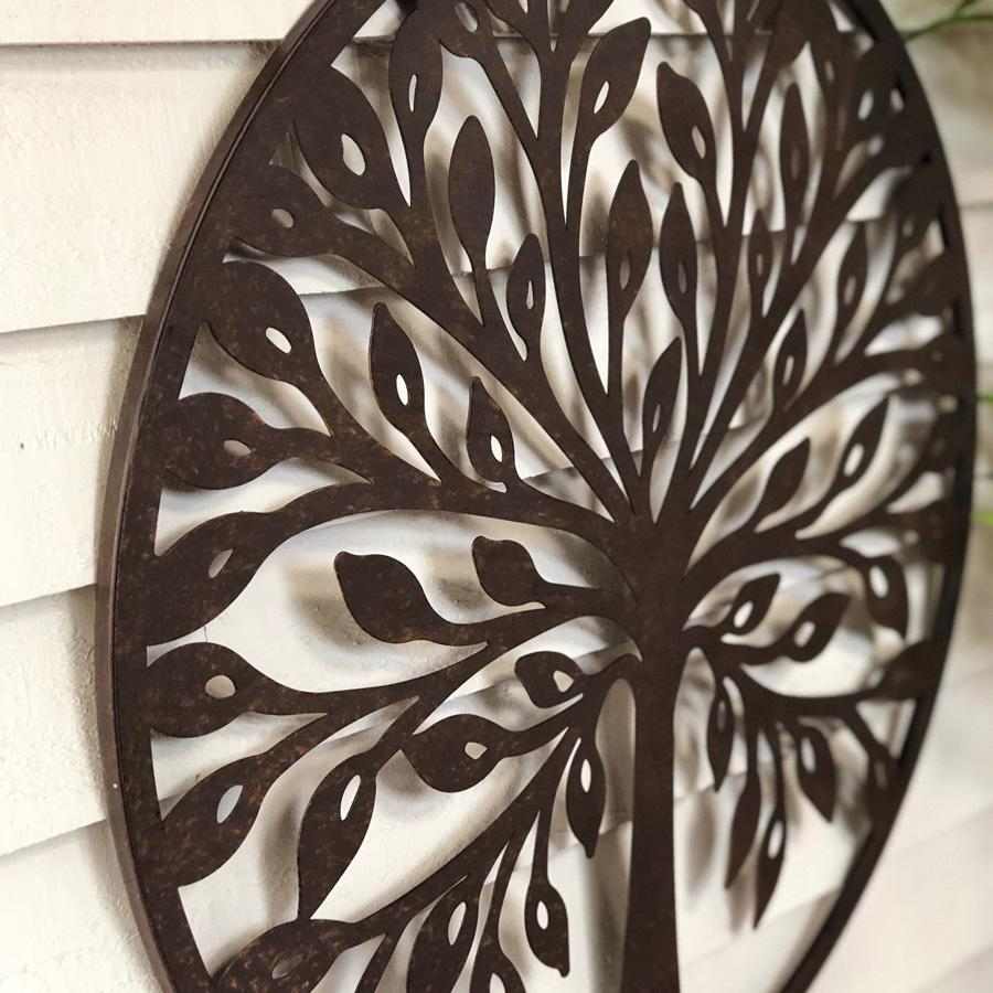 Round Rustic Metal Wall Art - Tree of Life | Farthing