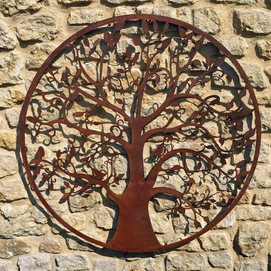 Round Rustic Tree of Life Wall Art Screen