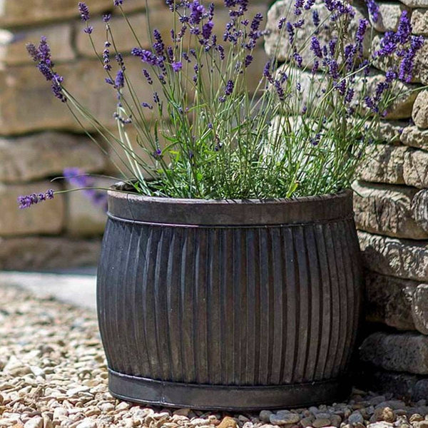 Round Shallow Rustic Vence Fluted Zinc Planter - 33cm - The Farthing
