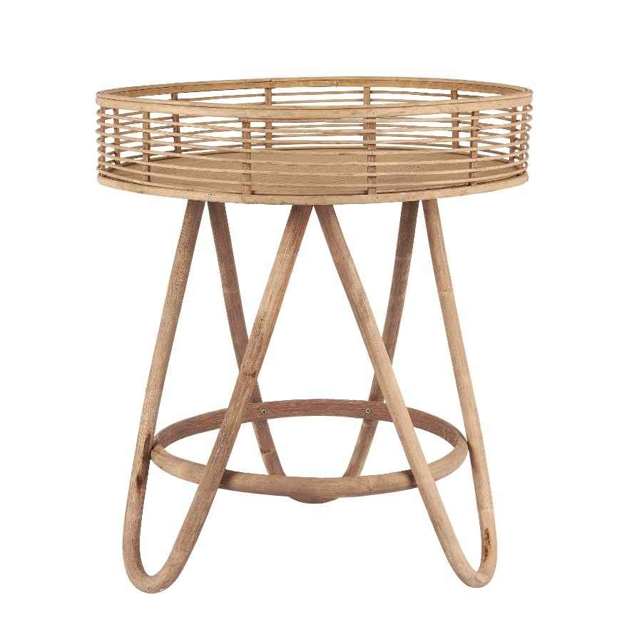 Round Natural Bamboo Side Table