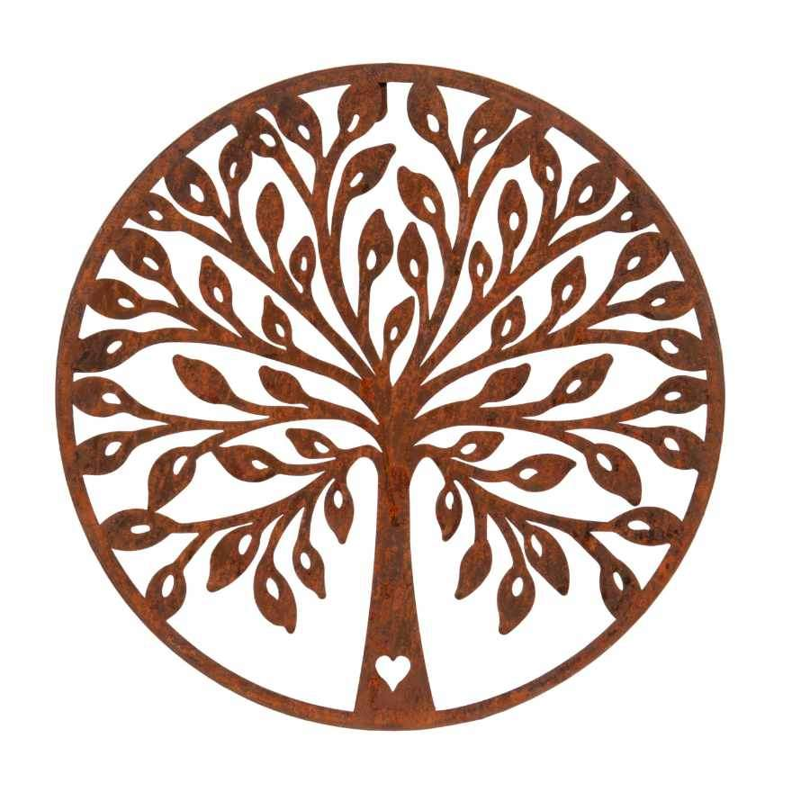 Round Oxidised Metal Wall Art - Tree of Life Heart