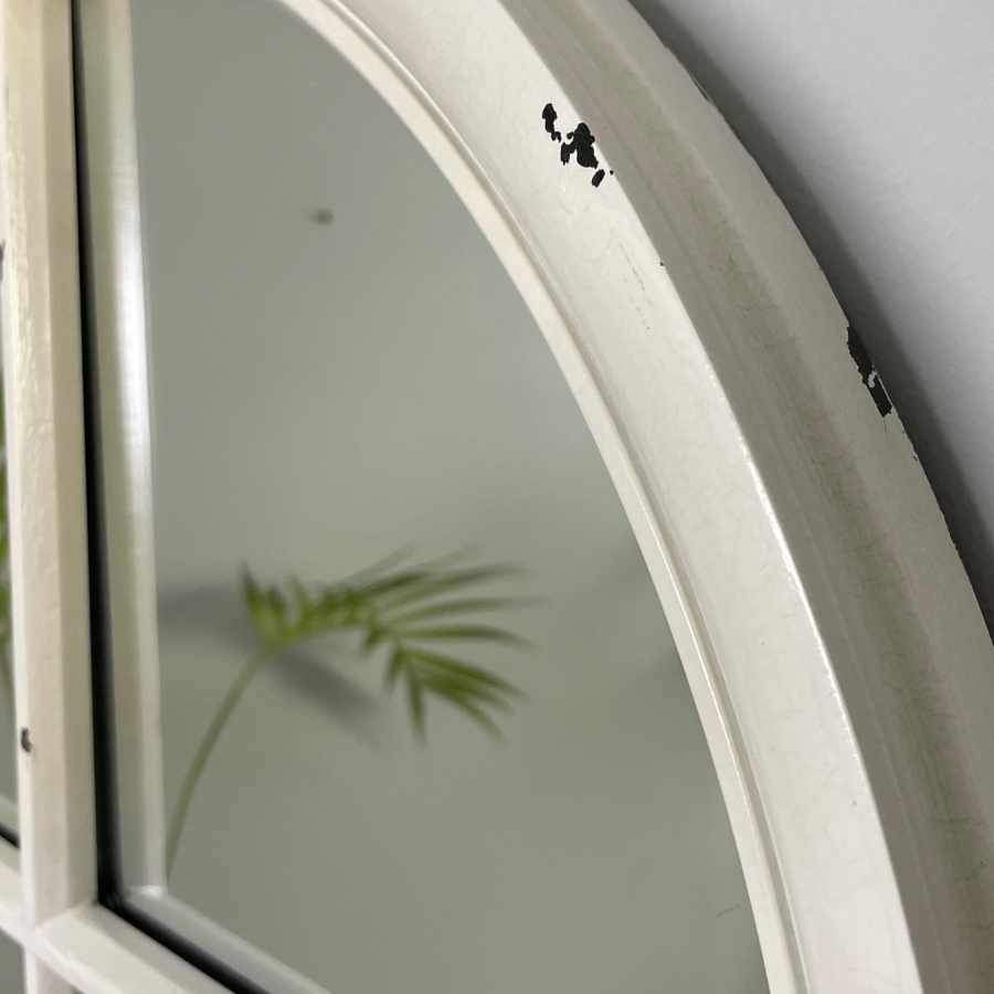 Round Window Mirror Distressed White | Farthing