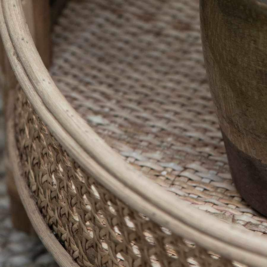Round Wove Cane Storage Side Table | Farthing