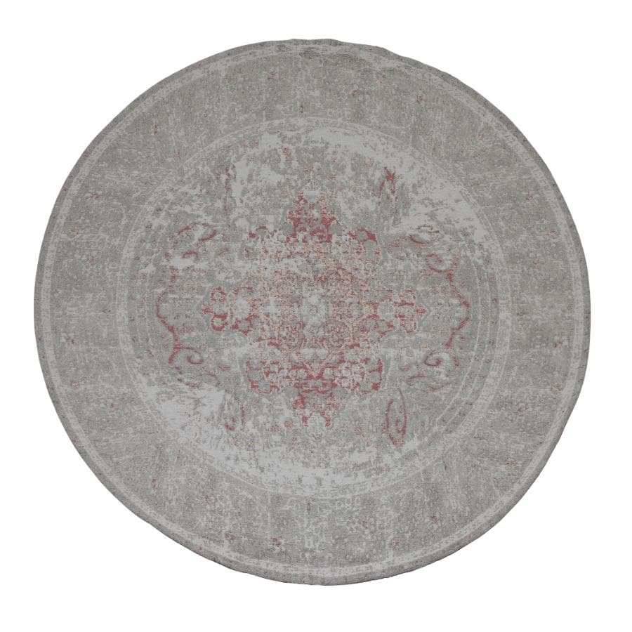 Round Distressed Soft Pink Rug at the Farthing