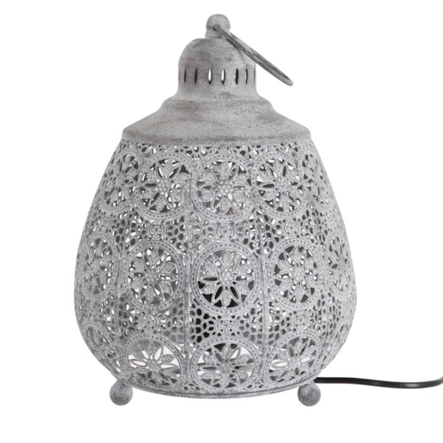 Round Filigree Metal Table Lamp at the Farthing