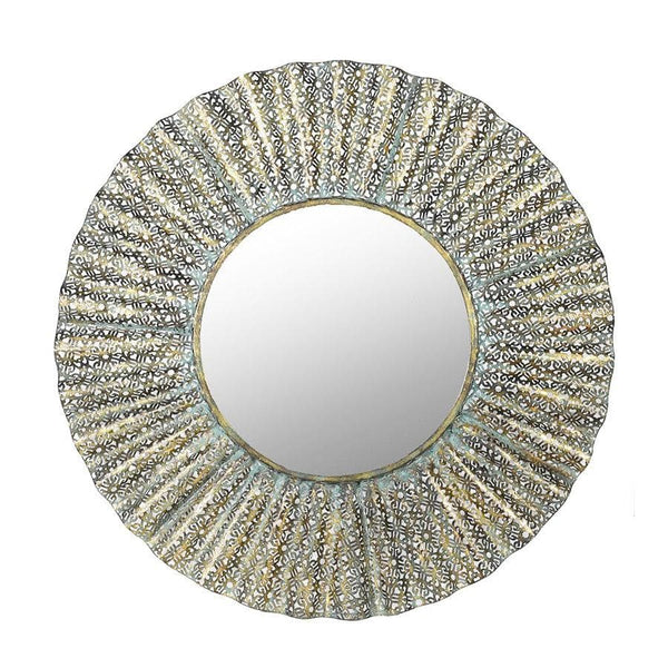 Round Filigree Metal Wall Mirror at the Farthing