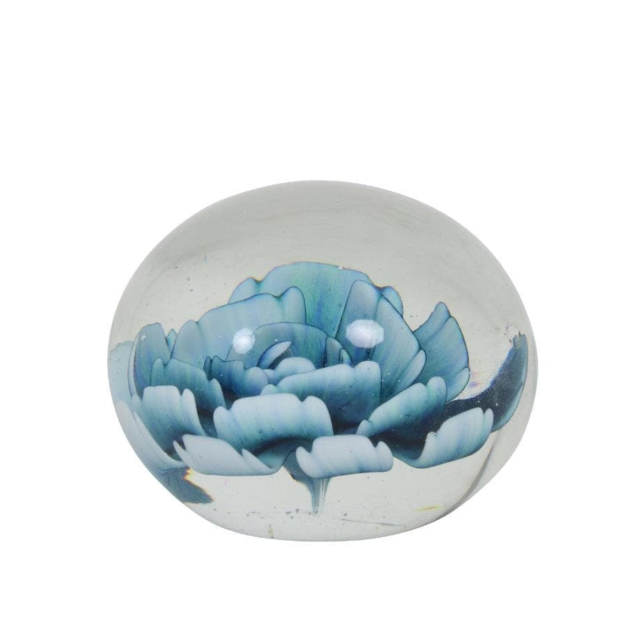 Round Glass Flower Paperweight - the Farthing