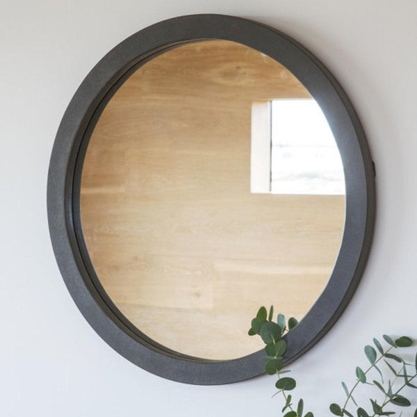 Round Industrial Faux Concrete Mirror | The Farthing