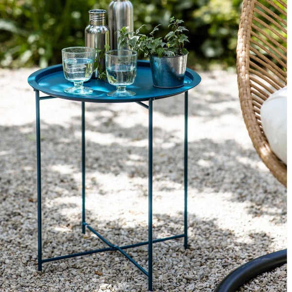 Round Metal Tray Table - Teal at the Farthing