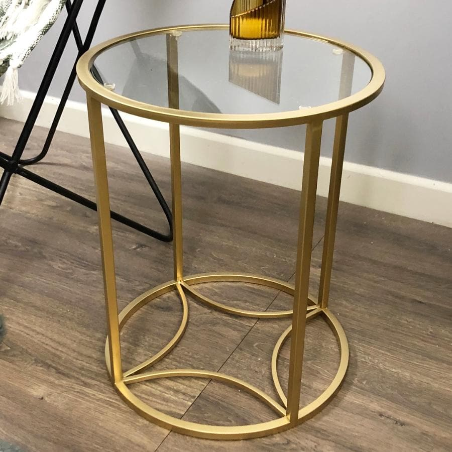 Round Vintage Gold Side Table at the Farthing 1