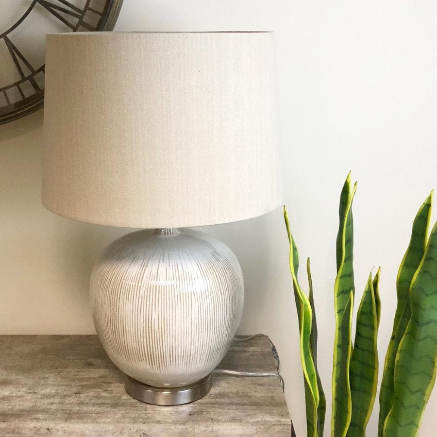 Rounded Glazed Table Lamp & Shade at the Farthing 1