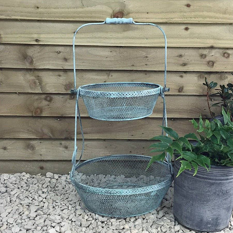 Rustic 2 Tiered Eau De Nil Storage Basket at the Farthing