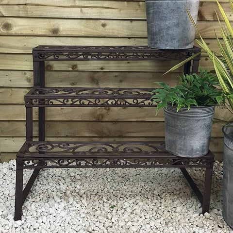 Rustic Cast Iron 3 Tired Garden Plant Etagere - The Farthing