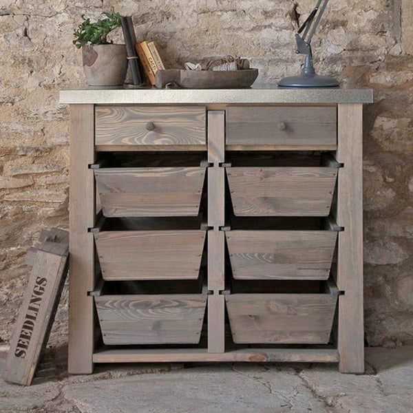 Rustic Aldsworth 8 Drawer Metal Topped Storage Unit at the Farthing