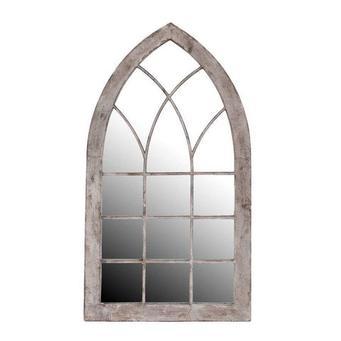 Rustic Arched Metal Garden Window Mirror - The Farthing