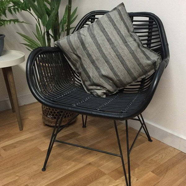 Rustic Black Rattan Armed Scoop Chair at the Farthing