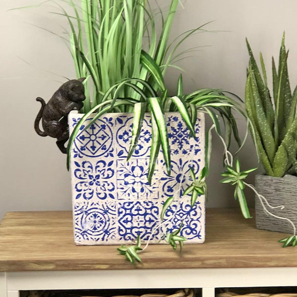 Rustic Blue Delft Plant Pot - Large | Farthing  2