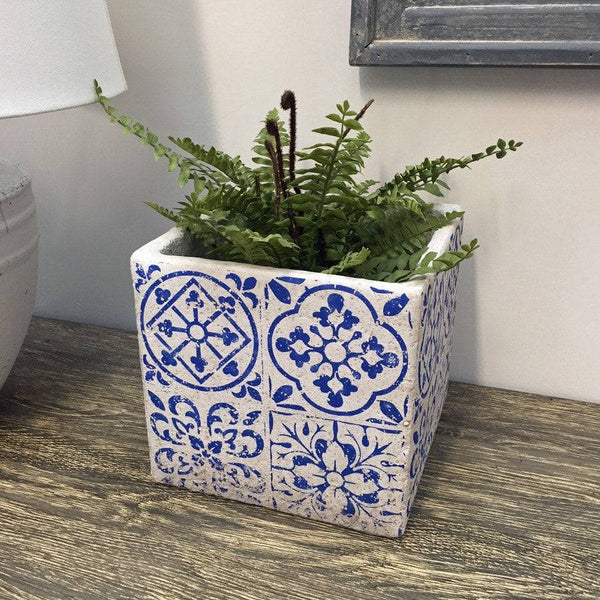 Rustic Blue Delft Plant Pot - Small - The Farthing