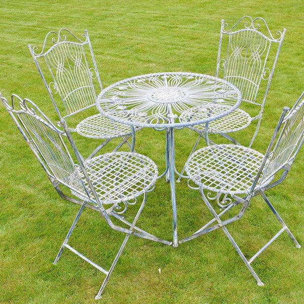 Rustic Blue Metal Bistro Set of Table & Four Chairs - The Farthing