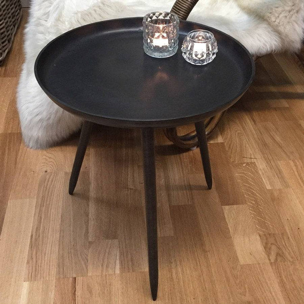 Rustic Bronze Metal Side Table - The Farthing