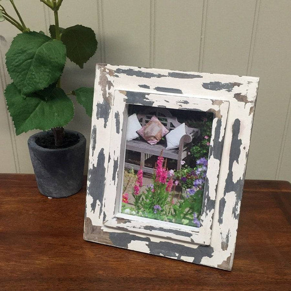 Rustic Chic Wooden Photo Frame - Old White - The Farthing