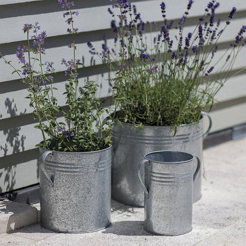 Rustic Farm Urn Galvanised Planters - Set of 3 Round - The Farthing