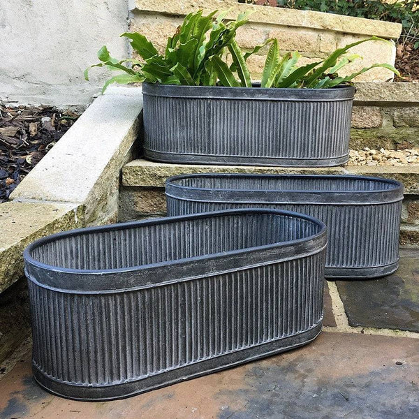 Rustic Galvanised Fluted Trough Set of 3 Tubs - The Farthing  - 3