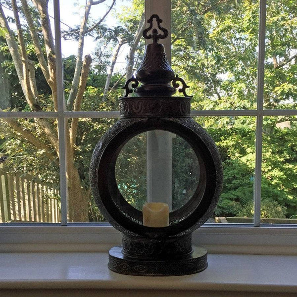 Large Rustic Geraldine Moroccan Filigree Metal Lantern - The Farthing