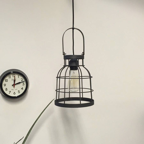 Rustic Graphite Grey Wire Cage Pendant Light - The Farthing